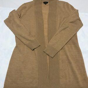 Talbots Merino Wool Cardigan Sweater Tan Brown S